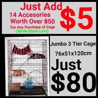 Cat Cage Jumbo 3 Tier Pet Cage Add $5 for 14 Accessories ONLY Included Transparent Large Bag