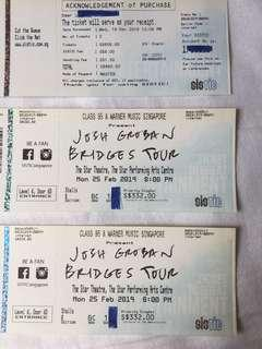 🚚 Josh Groban Superb Centre 3rd Row From Stage Tickets