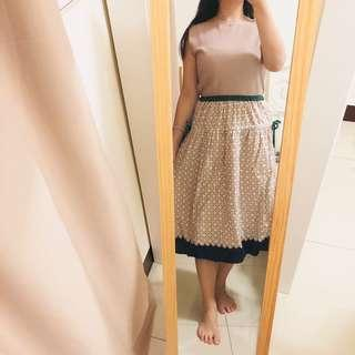 🇯🇵 Pou dou dou 原單圖騰撞色圓裙 Free Size 近全新
