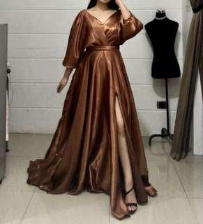 Bronze Long Train Gown