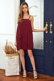 🚚 FCFS: TCL the closet lover red/maroon/wine jouie pleated dress