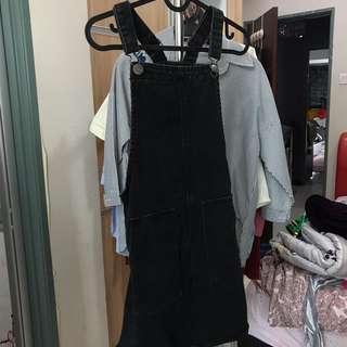COTTON ON DUNGAREE DRESS MINI BLACK