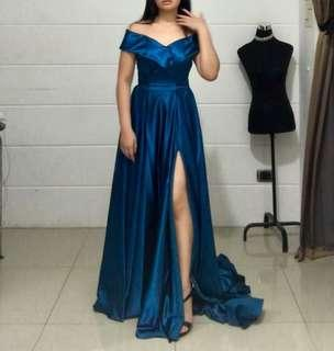 Blue Long Train Gown