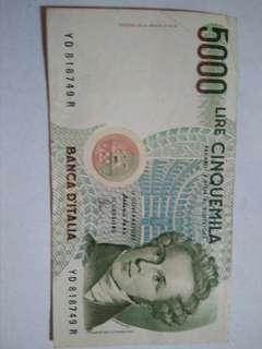 Italy 5,000 Lire (P111) ND 1985