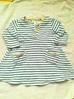 3/4 sleeve stripes top 2t-3t