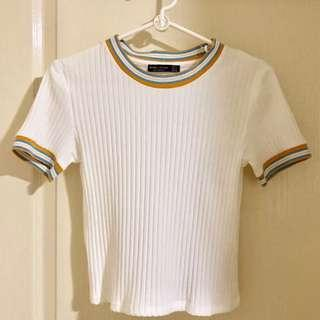 🚚 bershka ribbed knit ringer top
