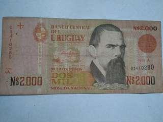 Uruguay 2,000 Pesos (P68) ND (1989)