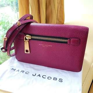 Marc Jacobs Maroon Leather Sling Wallet Bag/ Clutch