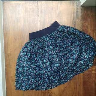 Dark Blue Garterized Floral Skirt