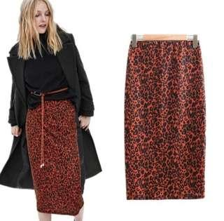 Brand New Red Leopard Print Skirt