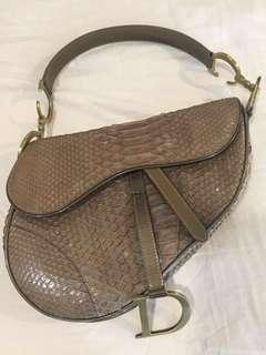 3b4b23b04e63 Christian Dior Snake Skin Oblique Saddle Bag - vintage python skin
