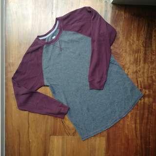 Grey & Maroon Long Sleeve Shirt (SIZE XL - 14-16)