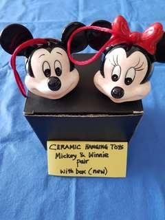 MICKEY & WINNIE CERAMIC HANGING TOYS.