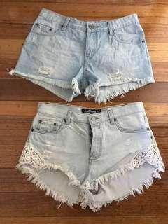 Denim shorts x2