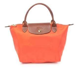 Longchamp Le Pliage Medium Top Handle Tote Bag - Tangerine