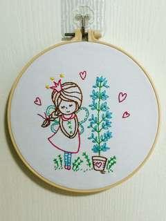 Fairy tale embroidery wall art