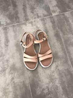 Pink Faux Leather Look Sandals