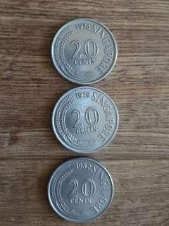 Singapore old 20 cents coin