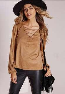 Missguided Faux Suede Lace Up Tan Top