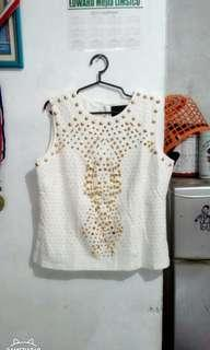 The Limited by: Atmosphere White Studded Top