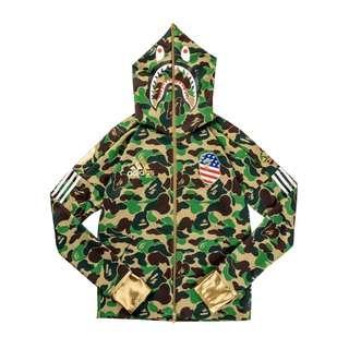 Bape x Adidas Green Camo Shark hoodie L