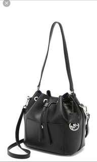MICHAEL KORS Black Greenwich Saffiano Leather Bucket Bag