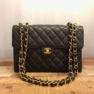 6094ff03eb25 Authentic Chanel Jumbo Caviar Classic Flap Bag w 24k Gold Hardware