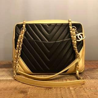 Authentic Chanel Chevron Black with Champagne Gold Borders Camera Bag w Brushed Matte Gold Hardware