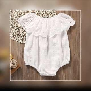 🐰White Lace Baby Romper