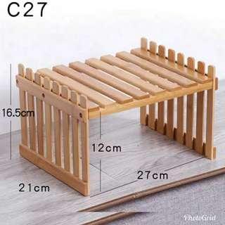 單層小花架窗臺  辦公室桌面迷你分格架  竹子盆栽置物架  廚房室內桌上花架子