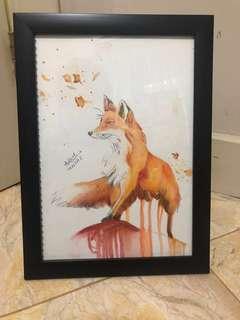 Lukisan cat air serigala