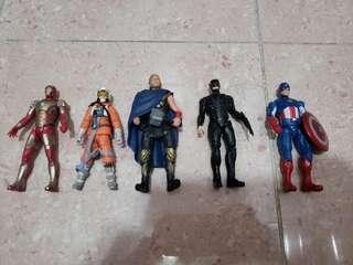 3.75吋 公仔5隻 Star Wars Avenger Ironman 美國隊長 雷神 鐵甲威龍