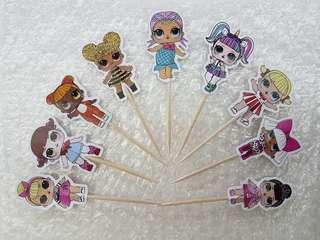 LOL Surprise Doll Cupcakes and Cakes Toothpick Toppers