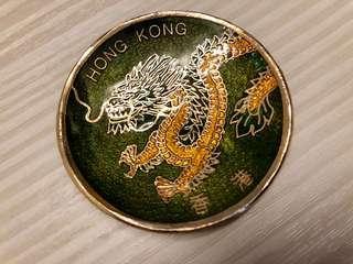香港龍鎏金小碟,新加坡水晶磁石貼一對$150