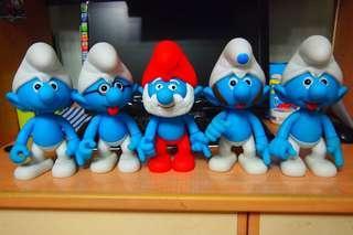 藍精靈figure大公仔5隻
