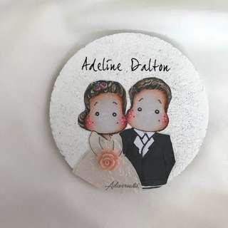 Couple handmade art on coaster (valentine day)
