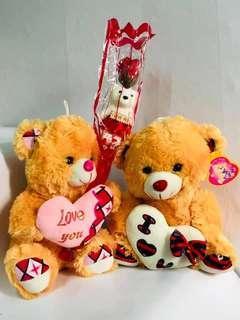 Set 2teddy bears +1flower+1foil balloon 🎈