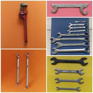 Master wrench, Pipe wrench, open-ring spanner, double ring spanner, double open head spanner. Detail price and description in respective listings