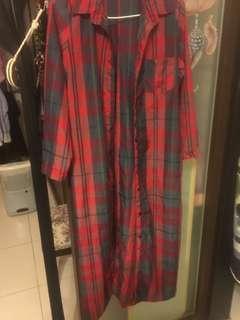 長版格紋襯衫/外罩