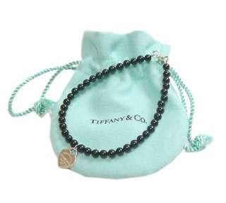 Authentic Tiffany & Co. Heart Onyx Black Sterling Silver