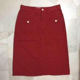 Red knee length skirt #MFEB20