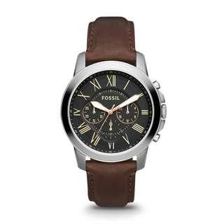 [Valentines Day Special] Fossil Grant Men's Brown Leather Watch FS4813