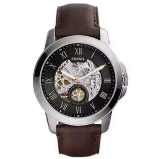 [Valentines Day Special] FOSSIL ME3095 Grant Automatic Dark Brown Leather Watch