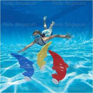 [Kibot]3pcs Diving Dolphin Toy Creative Kids Underwater Swimming Pool Diving Dive Training Water Play Game Toy/Throwing Underwater Diving Training Fun Game Toy Improve Swimmer's Skill