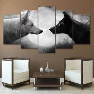 🚚 Black & White Wolf Face To Face Canvas Print