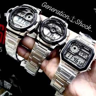 🚚 NEW🌟ARRIVAL in AVIATORS SERIES: 1-YEAR OFFICIAL WARRANTY CASIO 100M DIVER SPORTS WATCH : TOUGH STAINLESS STEEL : Officially by GSHOCK GSTEEL JAPAN COMPANY : BEST for ROUGH USERS & UNISEX : GSHOCK / GSTEEL / CASIO / G-SHOCK / BABYG /  G-STEEL / WATCH