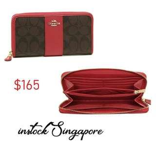 READY STOCK authentic new Coach ACCORDION ZIP WALLET IN SIGNATURE COATED CANVAS WITH LEATHER STRIPE (COACH F54630) true red