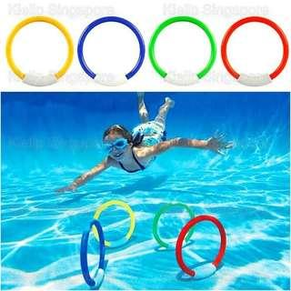 [Kibot]4pcs Diving Rings Toy Creative Kids Underwater Swimming Pool Diving Dive Training Water Play Game Toy/Throwing Underwater Diving Training Fun Game Toy Improve Swimmer's Skill