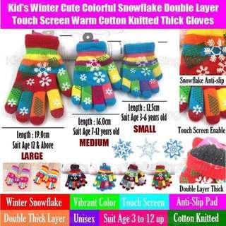 [Kibot]Kid's Winter Cute Colorful Snowflake Double Layer Touch Screen Warm Cotton Knitted Thick Gloves/Baby Toddler Children Kids Winter Unisex 5 Finger Touch Screen Warming Winter Gloves