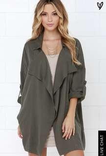 Lulu's oversized olive jacket